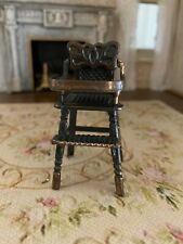 Vintage Miniature Dollhouse Copper With Patina Baby High Chair 1:12 1980s