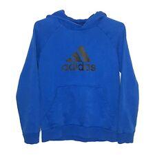 Adidas Youth Hoodie L Blue Large Logo Fleece Sweatshirt