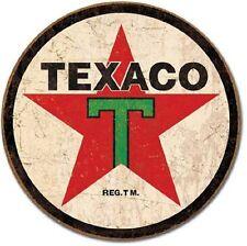 Texaco '36 Gasoline Round Tin Metal Sign Bar Garage Wall Decor Ad Made In USA