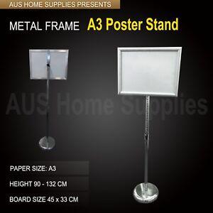 A3 size Poster Stand Metal Frame Pedestal Sign Holder Display Adjustable Height