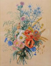 Adèle Riché dessin aquarelle nature morte bouquet fleurs tableau botanique 19ème