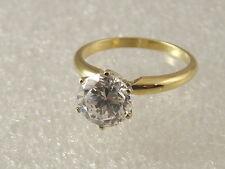 14 karat engagement ring 14 K yellow gold 2 carat solitare created diamond ring