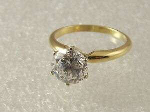 14 karat engagement ring 14 K yellow gold 2 carat solitare created diamond ring