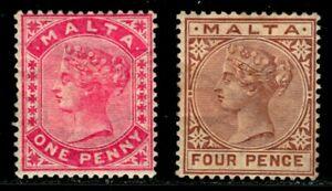 ES-14054 MALTA VICTORIA SCOTT 4 & 8 MINT HINGE REMNANTS CV $20
