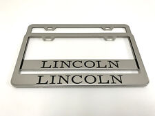 (2) STAINLESS STEEL CHROME Polished Metal License Plate Frame - LINCOLN