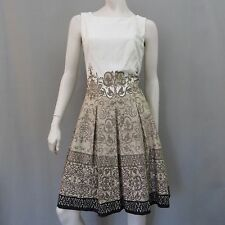 Jones New York Dress 12 Pleated Sundress Flare Beige Brown
