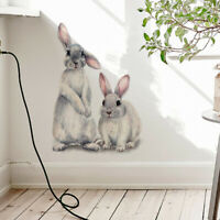 Two Cute Rabbits Wall Stickers Children Kids Room Home Nursery Decor Removable