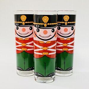 "VTG Set Of 3 Georges Briard NUTCRACKER SOLDIERS Tom Collins Highball Glasses 7"""
