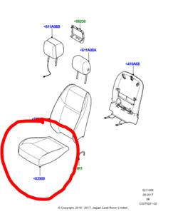GENUINE RANGE ROVER VELAR FRONT LEFT SIDE BOTTOM SEAT CUSHION COVER EBONY BLACK