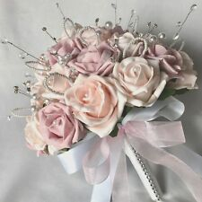 BRIDES POSY BOUQUET, BABY PINK, CRYSTALS, DIAMANTES,  ARTIFICIAL WEDDING FLOWERS