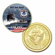 US United States Navy USS Sea Devil SSN-664 Submarine Gold Plated Challenge Coin