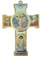 The Last Supper Icon with Risen Christ Wooden Wall Cross Crucifix, 8 1/4 Inch