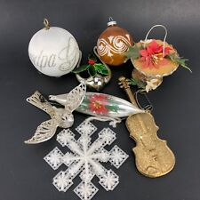 Vtg Christmas Ornament Lot Diorama Plastic Bird Feeder Music Dove Spun Satin