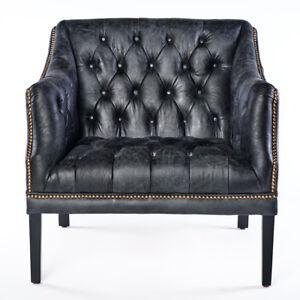 Vintage Chesterfield Ledersessel schwarz Leder Antik Sessel ClubSessel  664