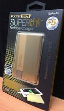 TZUMI Pocket Juice Superthin PORTABLE CHARGER GOLD Aluminum Case iPhone iPod MP3
