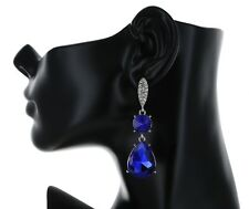 "2.65"" Long Rhinestone Royal Blue Chandelier Bridal Prom Party Pageant Earring"
