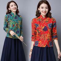Womens Chinese Style Linen Blouse Slim Tops Long Sleeved Folk-custom Cheongsam M