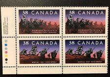 CANADA 1989 #1250ii CANADIAN INFANTRY REGIMENTS LL INSCRIPTION BLOCK OF 4 MNH
