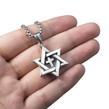 Star of David Messianic cross Men's Solid Stainless Steel Pendant Necklace Chain