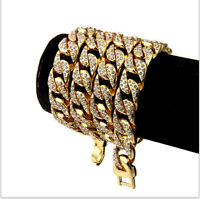 25'' Luxury Diamond Men Solid Figaro Curb Link Chain Gold Plated Necklace 19mm
