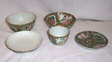LOT OF 5 Antique Chinese JAPANESE PORCELAIN Cloisonne Rice Bowl , CUP , ETC