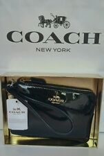 Coach Wristlet Wallet Black Gold New Small L-Zip Leather Mother's Day Gift Box