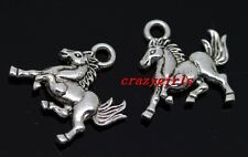 Lot 50pcs Tibet Silver Two-Sided horse Jewelry Finding Charm Pendants 15x14mm