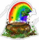 "Rainbow Pot Of Gold Irish Beer Ale Pub Car Bumper Vinyl Sticker Decal 4""X5"""