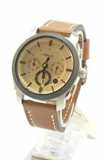 Fossil FS5620 Machine Beige Dial Brown Leather Strap Men's Chronograph Watch