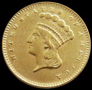 1856 GOLD UNITED STATES PRINCESS HEAD $1 DOLLAR TYPE 3 COIN AU/ UNC