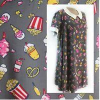 Modcloth Movie Night Treats Novelty Print Grey Shift Dress Cotton Candy 1X D825