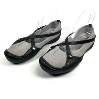 Crocs Celeste Womens Size 9 Black Gray Suede Criss Cross Straps Mary Jane Shoes