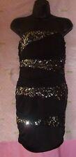 $99 SPEECHLESS STRAPLESS SEQUIN STRIPE BODY DRESS MEDIUM DRAPE TOP RUCH ZIP BACK