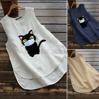 ZANZEA Women Sleeveless Blouse Asymmetric O-Neck T-Shirt Top Solid Cat High Low