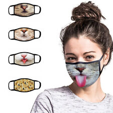 3D Face Mouth Mask Protection Cover Washable Reusable Funny Print US STOCK