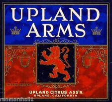 Upland San Bernardino Coat of Arms Orange Citrus Fruit Crate Label Art Print