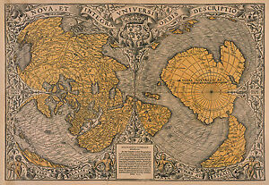 Oronce Fine Reproduction Colour Antique Vintage Early World Wall Map Print NEW