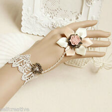 Fresh Love Big Flower Pink White Lace Adjustable Ring Bracelet SET Lolita Bridal