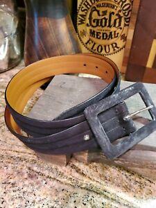 """Lauren Ralph Lauren Italian Leather Black Suede  Rectangular buckle 3-1/2"""""""
