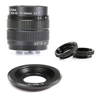Fujian 35mm f/1.7 CCTV cine lens for M4/3 / MFT Mount Camera & Adapter bundle