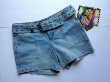 Mudd Juniors Size 9 Blue Denim Shorts with Belt Stretch Hip Hugger Q8