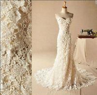 New White/Ivory lace Mermaid Wedding Dress Bridesmaid Bridal Gown Custom Size