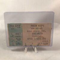 Van Halen Marin Veterans Auditorium CA Concert Ticket Stub Vtg April 5 1979