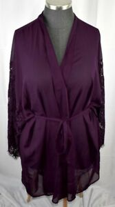 Cacique Seriously Sexy Dark Purple Lace Sleeve Short Lingerie Robe 4X 26/28 NWT
