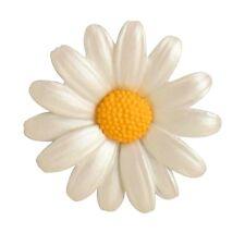 Enamel Daisy Flower Brooch with Rhodium Plated Accents - CB-B6660R. 45mm