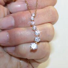7 Diamond Alternatives Journey Pendant Necklace 14k Yellow Gold over 925 SS
