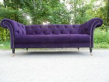 Chesterfield Three Seater Sofa - Purple Velvet