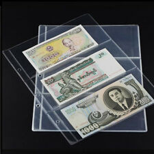Fa- 10x Note Banknotes Currency 3-Pocket Holder Page Album Paper Money Sleeve Ey