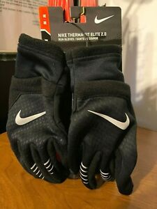 NIKE Men's THERMA-FIT ELITE 2.0 RUNNING GLOVES - Size M -Black/Reflective Silver