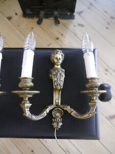 antique heavy french 2 lights mazarin bronze pair fine wall lamps sconces old